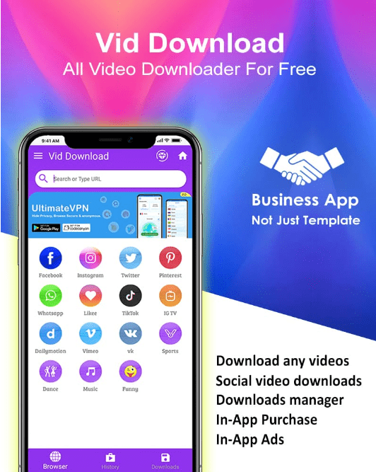 A template of video downloader