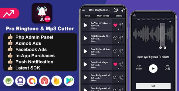 pro ringtones mp3 cutter app android source code with admin panel